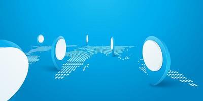 blauwe en witte navigatorpinnen op gestippelde wereldkaart vector