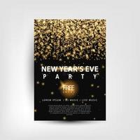 oudejaarsfeest flyer met gouden lichten