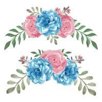 aquarel blauw roze handgeschilderde roos gebogen set
