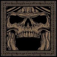 grunge schedel schreeuwen in frame vector