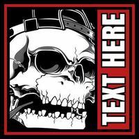 schedel met hoed in redtext frame