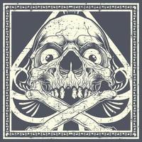 grunge schedel met gekruiste knekels over schoppen vector