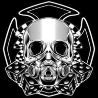 gemaskerde schedel met racevlaggen en dobbelstenen
