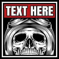 gehelmde biker-schedel in tekstkader