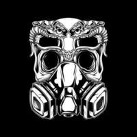 schedel met gasmasker met slangen
