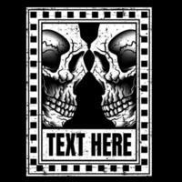 grunge schedels van aangezicht tot aangezicht in tekstkader vector