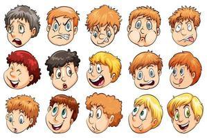 set van verschillende gezichtsuitdrukkingen vector