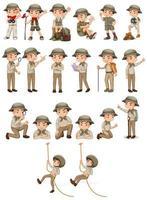jongen in safarikleding die verschillende activiteiten doet vector