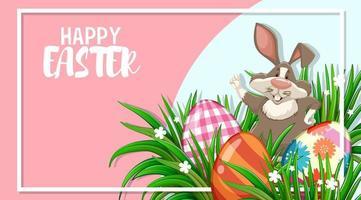 Pasen ontwerp met konijn en beschilderde eieren in frame