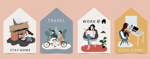 huisvormige kaarten met mensen die quarantaineactiviteiten uitvoeren
