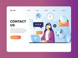 Neem contact met ons op ontwerp met vrouw die klantenservice doet