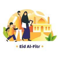 familie die samen loopt voor moskee vector
