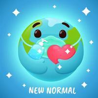 '' nieuwe normale '' wereldbol met gezichtsmasker en ontsmettingsmiddel