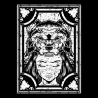 grunge meisje met wolf hoofdtooi frame