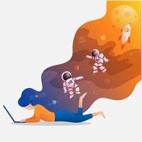 vrouw studeren ruimte op laptop vector
