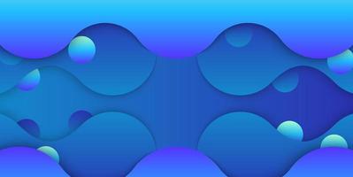 gelaagde blauwe vloeibare vormen en bellenontwerp