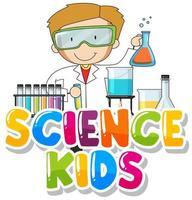 '' science kids '' met jongen in lab vector