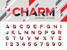 lineair gestileerd afgerond lettertype vector