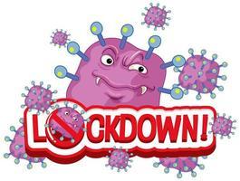 coronavirus '' lockdown '' viruscellen met een gemiddeld gezicht vector