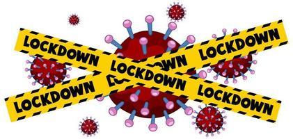 gele, zwarte 'lockdown'-tape op rode viruscellen vector