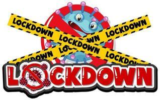 geen virus toegestaan symbool achter voorzichtigheidstape '' lockdown ''