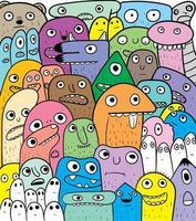 schattig doodle stijl monsters in een groep