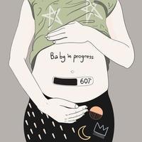 zwangere vrouw met baby lopende meter vector
