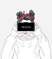 vrouw films kijken door middel van vr box bril vector