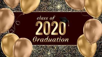 klasse van 2020 afstuderen tekstontwerp vector