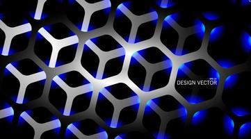 3D-grijze en blauwe zeshoek achtergrond