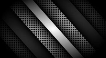 donkere overlappende 3D-zwart en grijs met zilveren achtergrond vector