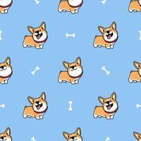 schattig welsh corgi hond cartoon naadloze patroon vector