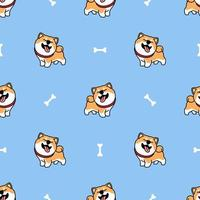 grappige shiba inu hond lachende cartoon naadloze patroon vector