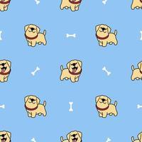 schattig labrador retriever puppy cartoon naadloze patroon vector