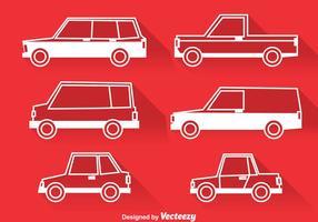 Klassieke auto's witte pictogrammen