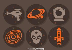 Buitenaardse ruimte cirkel iconen