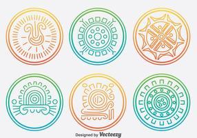 Inca Circle Ornament Vector Set