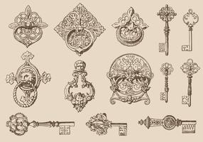 Sleutels En Deurknockers vector