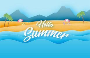 strand en zee golf in papier knippen stijl. vector