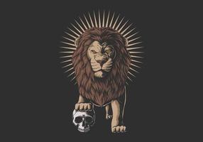 leeuw stapte op een menselijke schedel vector