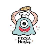 monsterpizza voor voedselwinkel vector