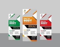 fitnessruimte verticale stand banner moderne sjabloon set met frame vector