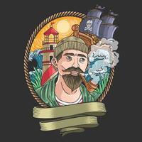 man roken met golven en piratenschepen op de achtergrond