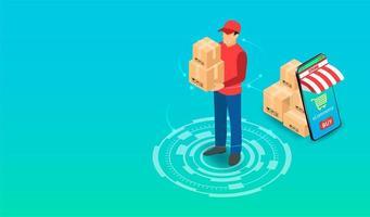 pakketbezorger met pakketten vector