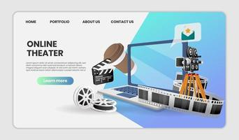 online theater website concept op laptop vector