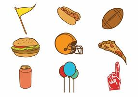Gratis Handgetekende Tailgate Party Icon Set vector