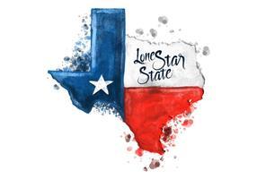 Gratis Texas Kaart Waterverf Vector