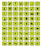 waarschuwing neon gevaar symbolen etiketten ondertekenen set