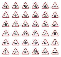 gevarendriehoek gevaarsymbolen etiketten teken set