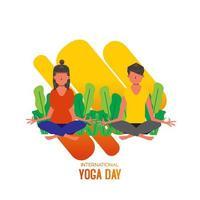 internationale yogadag met zittende vrouw en man